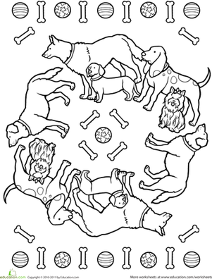 Second Grade Coloring Worksheets: Dog Mandala