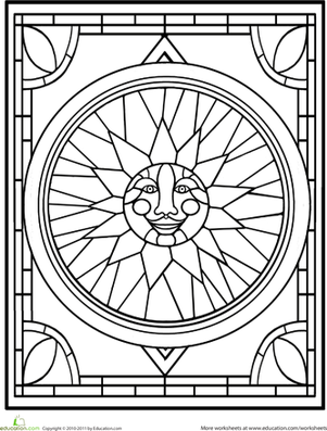 First Grade Coloring Worksheets: Stained Glass Window Coloring Page