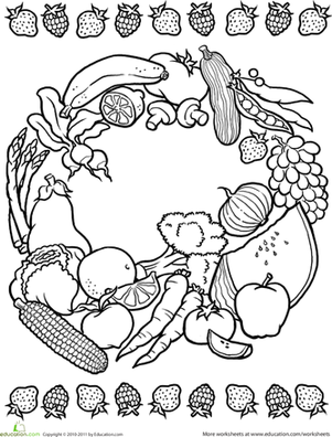 Second Grade Coloring Worksheets: Color a Mandala: Fruits and Veggies
