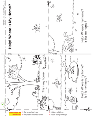 Kindergarten Reading & Writing Worksheets: Make a Mini Story Book: Where Is My Home?