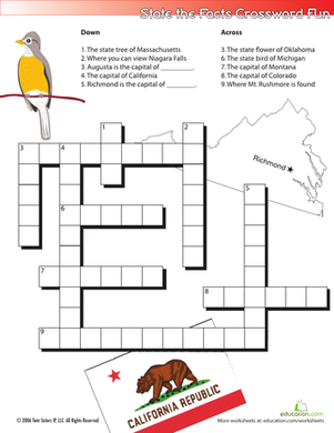 Fifth Grade Social studies Worksheets: State the Facts Crossword #1