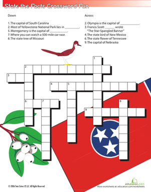 Fifth Grade Social studies Worksheets: State the Facts Crossword #4