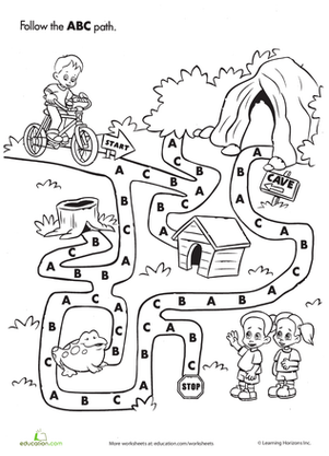Preschool Reading & Writing Worksheets: ABC Maze