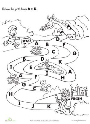 Kindergarten Reading & Writing Worksheets: Follow the A to K Path