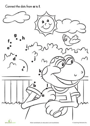 Kindergarten Reading & Writing Worksheets: Connect the Dots: Sporty Frog