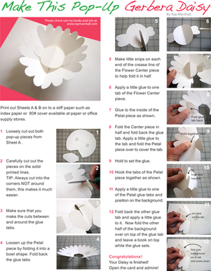 Second Grade Arts & Crafts Worksheets: Make a Gerbera Daisy Paper Pop-Up