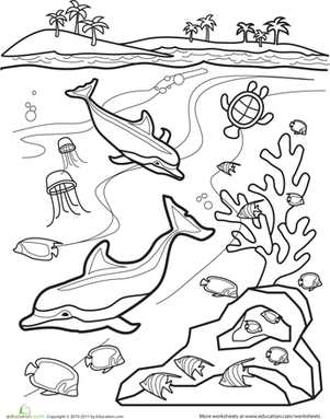 First Grade Coloring Worksheets: Underwater Coloring Page