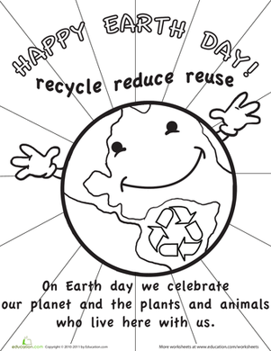 First Grade Holidays Worksheets: Color the Earth Day Picture