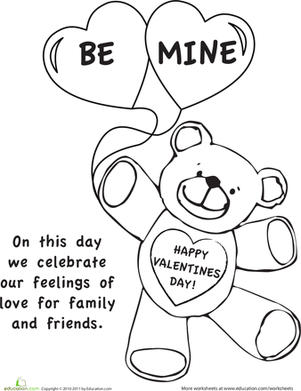 First Grade Holidays Worksheets: Color the Valentine's Day Picture