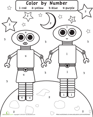 Preschool Color by Number Worksheets: Color by Number: Robots in Space