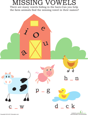 Kindergarten Reading & Writing Worksheets: Missing Vowels: Farm Animals