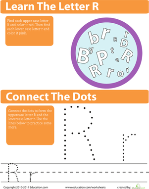 Preschool Reading & Writing Worksheets: The Letter R