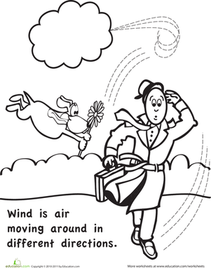 Kindergarten Science Worksheets: Color and Learn: Wind