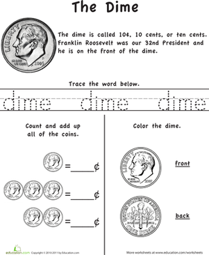Kindergarten Math Worksheets: Learn the Coins: The Dime