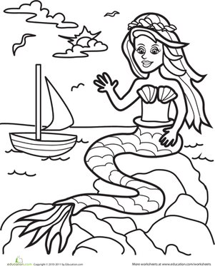 Kindergarten Coloring Worksheets: Color the Marvelous Mermaid: #1