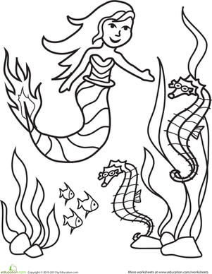 Kindergarten Coloring Worksheets: Color the Marvelous Mermaid: #2