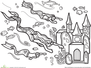 Kindergarten Coloring Worksheets: Color the Marvelous Mermaid: #5