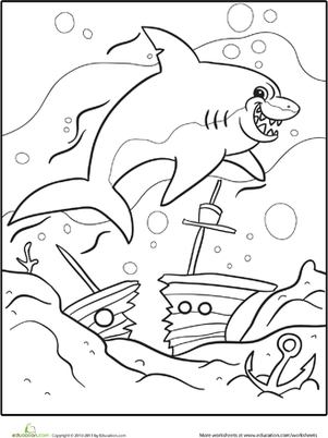 First Grade Coloring Worksheets: Scary Shark Coloring Page