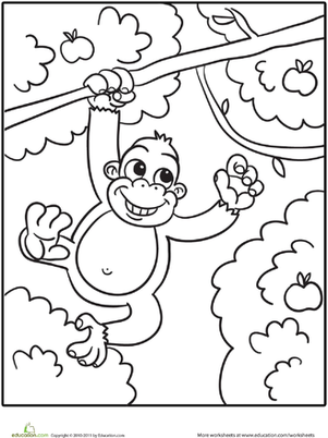 Kindergarten Coloring Worksheets: Monkey Coloring