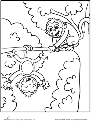 Kindergarten Coloring Worksheets: Silly Monkeys Coloring Page