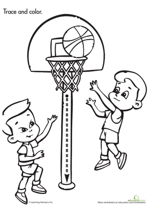 Preschool Reading & Writing Worksheets: Trace & Color: Basketball Game