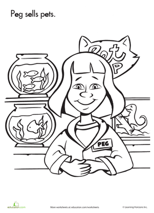 Preschool Reading & Writing Worksheets: Color Peg at the Pet Store