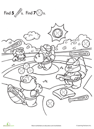 Preschool Math Worksheets: Find the Hidden Objects: Baseball