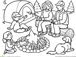 First Grade Coloring Worksheets: Color the Family Camping Trip