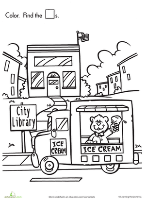 Preschool Coloring Worksheets: Shape Search: Ice Cream!