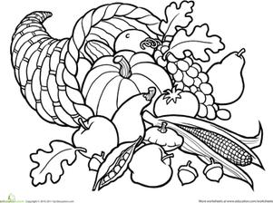 First Grade Holidays & Seasons Worksheets: Color the Cornucopia