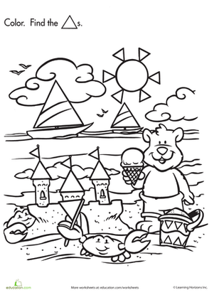 Preschool Math Worksheets: Shape Search: Baby Bear at the Beach