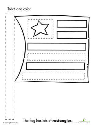 Preschool Reading & Writing Worksheets: Trace & Color: Flag