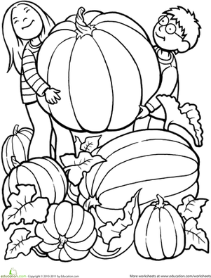Kindergarten Holidays & Seasons Worksheets: Giant Pumpkin Coloring Page