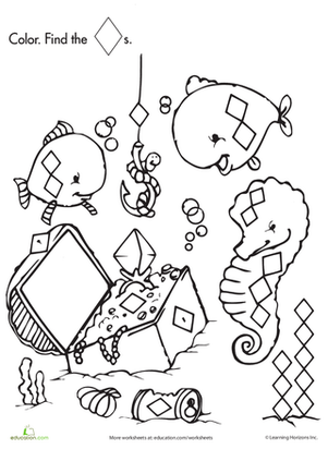 Preschool Coloring Worksheets: Shape Search: Fishing for Treasure