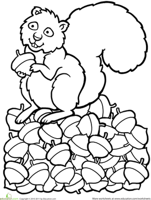 Preschool Holidays & Seasons Worksheets: Color the Squirrel
