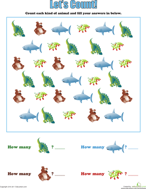 Preschool Math Worksheets: Let's Count: Creatures