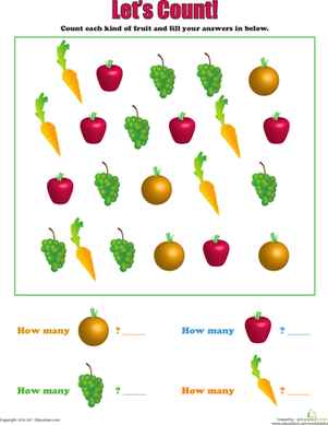 Preschool Math Worksheets: Let's Count: Fruits and Veggies