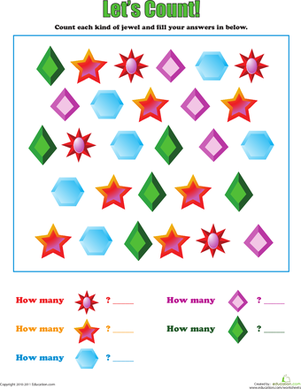 Preschool Math Worksheets: Let's Count: Jewels