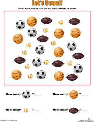 learning to count sports balls worksheet. Black Bedroom Furniture Sets. Home Design Ideas