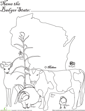 First Grade Coloring Worksheets: Badger State