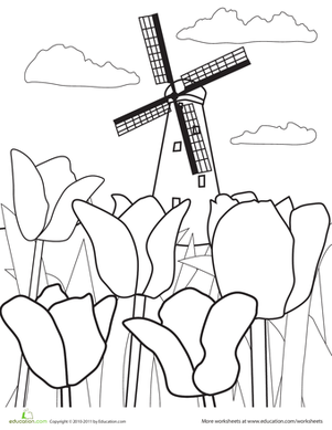 Color the Flowers: Tulips