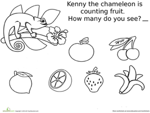 Preschool Math Worksheets: Fruit Count and Color