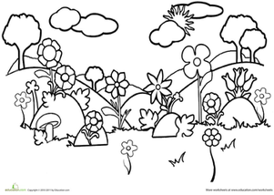 First Grade Coloring Worksheets: Field Coloring Page