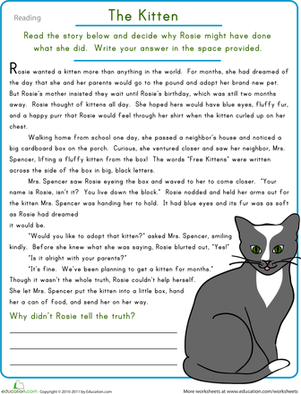 Printables Reading Comprehension Worksheets For Middle School reading comprehension the kitten worksheet education com fourth grade writing worksheets kitten