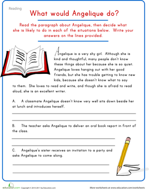 Fifth Grade Reading & Writing Worksheets: Creative Writing: Character Development