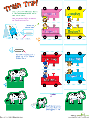 Preschool Offline games Worksheets: Play Train Trip!