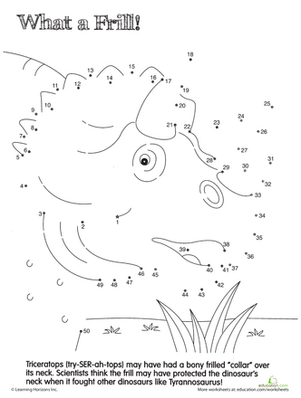First Grade Science Worksheets: Dino Dot to Dot: Triceratops