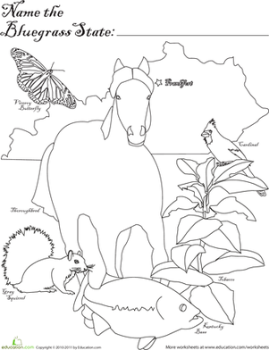 First Grade Coloring Worksheets: Bluegrass State