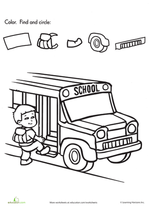 Preschool Seasons Worksheets: Find and Circle the School Objects