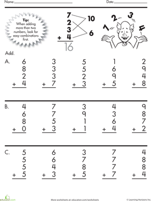 Second Grade Math Worksheets: Quick Addition: Adding Four Numbers